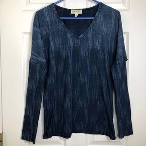 Cloth & Stone Dolman Sleeve Shirt Blue/White Small